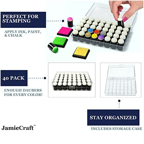 40 Pack of Sponge Daubers for Stamping with Storage Box Case by JamieCraft |