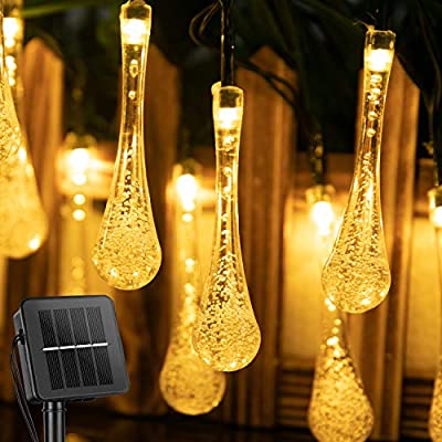 Outdoor Solar String Lights 25.7Ft 40 LED Water Drop Solar Powered Lights with 8 Modes, Waterproof Fairy Crystal Lights for Patio Garden Yard Tree Wedding Party Decor, Warm White