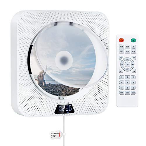 Reproductor de CD con Bluetooth Reproductor de CD Portátil para Montaje en la Pared Altavoces de Alta Fidelidad Incorporados con Pantalla LCD Audio para el Hogar Boombox