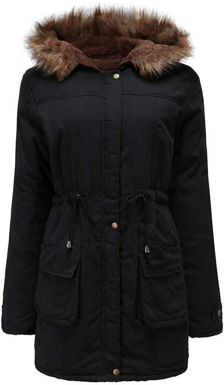 Bon Soir Women Warm Long Jacket Hoodie Fur Collar Coat Button Parka Windbreaker