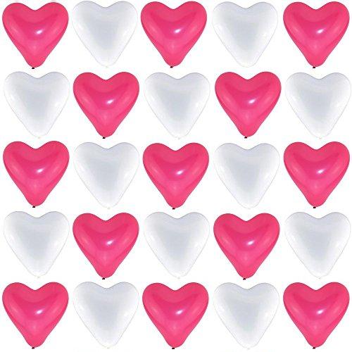 P&S events 50 große Premium Herz Luftballons 25 pink 25 weiß Ø 30cm Helium geeignet Markenqualität Party Hochzeit Geburtstag Herzluftballons