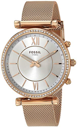 Fossil Women's Carlie Stainless Steel Hybrid Smartwatch, Color: Rose Gold (Model: FTW5060)