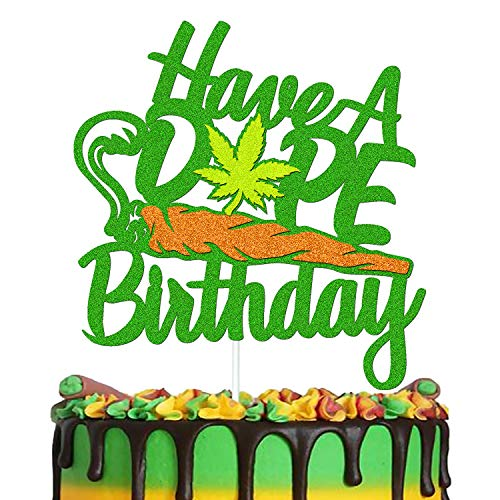 Have a Dope Birthday Cake Decorations Weed Leaf Pot Leaves 420 Themed Happy Birthday Cake Topper Men Women Bday Party Supplies Glitter Green Double Sided