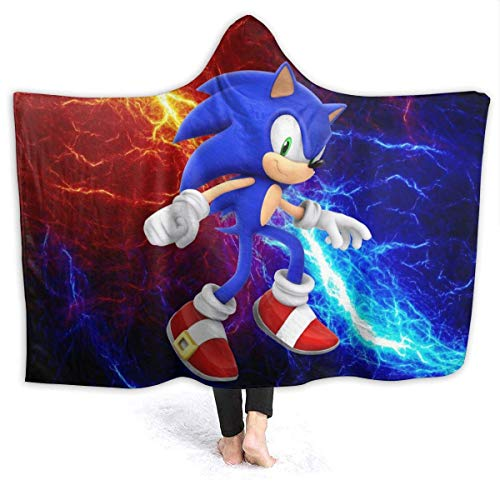 CHICLI Spring Hooded Blankets for Kids Baby, Angry Sonic The Hedgehog Game Art Wearable Blankets for Pretend Play, Home, Vacation, Better Quality Cozy Hooded Cloak Cape