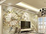 Papier peint photo mural papier peint papier peint 3D moderne bijoux en or fleurs KN 1006., XXL...