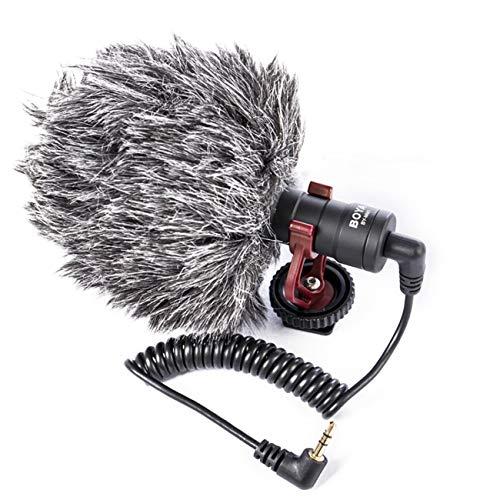 fengzong Micrófono de grabación de Video Compact VS Rode Video Micro Micrófono de grabación en cámara para iPhone Huawei Nikon Canon DSLR Micrófono de teléfono (Negro)