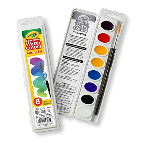 Crayola Watercolor Mixing Set with Taklon Paint Brush, 8 Paint Colors