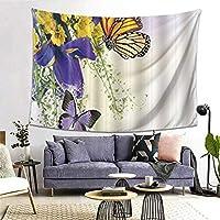 GUKISALA タペストリー 蝶のファンタジー装飾湖は黄色の花と青い蝶に覆われていました 多機能 毛布 おしゃれな壁掛け インテリア ファブリック装飾用品 モダンなアート 和風 壁掛け クールジャパン 家飾り