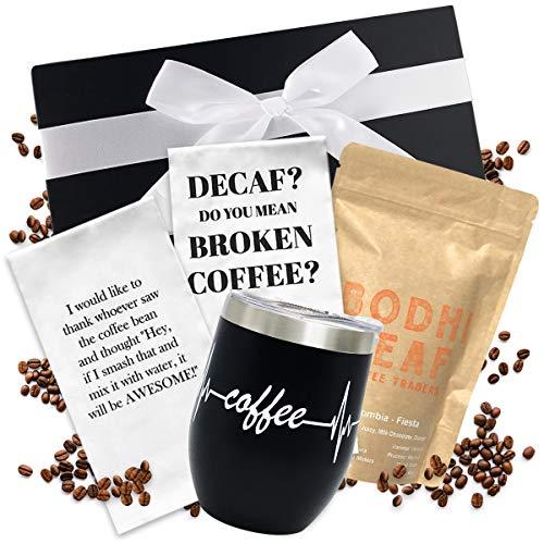 Coffee Gift Basket - Includes Funny Insulated Coffee Mug,...
