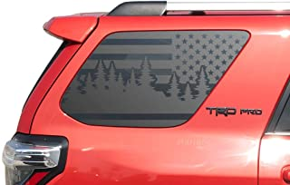 Forest Trees Side USA Flag Decals for Toyota 4Runner in Matte Black for side windows - TF14A