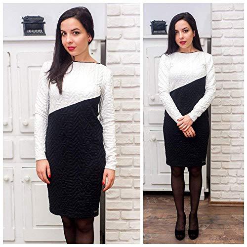 Damen elegantes schwarz-weißes knielanges Kleid, langärmeliges Kleid, enganliegendes Kleid, Midikleid, Kostüm für Damen, figurbetontes Kleid, schwarz-weißes Kleid