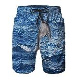 saletopk Hombres Playa Bañador Shorts,Delfines en Aguas Abiertas Fuera del Acuario Marino,Traje de baño con Forro de Malla de Secado rápido XL