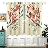 Honor American Happy Veterans Day - Cortina de oscurecimiento para ventanas pequeñas, cortinas correderas para puertas con ventanas con aislamiento térmico y ojales para ventanas pequeñas, set O