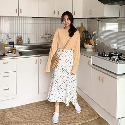 CWENROU Frauenröcke - Mode Frühling Sommerkleid Lange Frauen Schwarz Und Weiß Polka Dot Retro-Stil Mädchen Koreanischen Design Hohe Taille Schwarz Rock Einfache Lässige Party, Weiß, XL