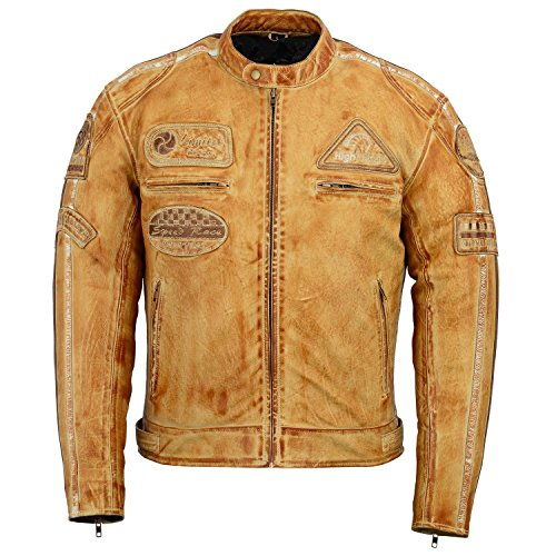 Herren Braun Retro gesteppte Echt Nappa Bikerjacke aus Leder (L)