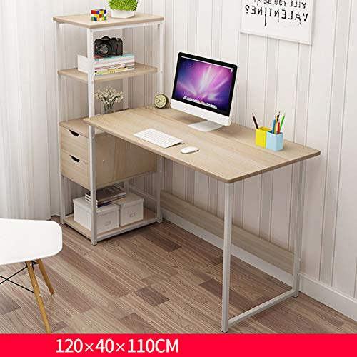 Wmagnifiy Computer Desk with 4 Tier DIY Storage Shelves Compartment Home Office Furniture 120 * 40 * 110Cm Home Office Laptop Desktop Table for Small Spaces,C