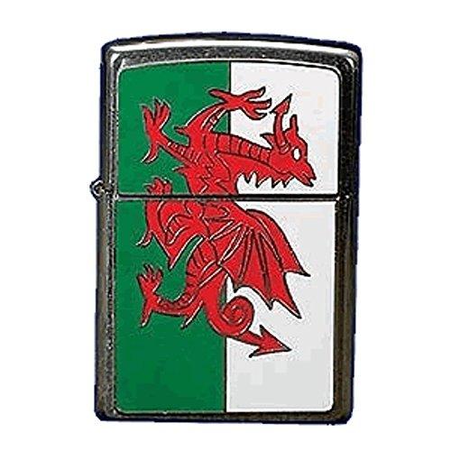 Zippo Drapeau du Pays de Galles EMBLEME Windproof Lighter-Chrome brossé