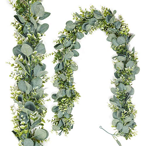 MELAJIA Faux Eucalyptus Garland 5.9 FT Artificial greenery garland Eucalyptus Leaves Hanging Vine for Wedding Home Wall Backdrop Decoration