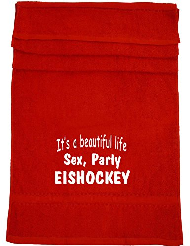 It's a beautiful life - Sex, Party, Eishockey; Badetuch Sport, rot
