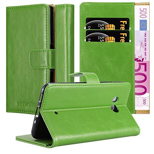 Cadorabo Hülle für HTC Ocean / U11 in Gras GRÜN – Handyhülle mit Magnetverschluss, Standfunktion und Kartenfach – Case Cover Schutzhülle Etui Tasche Book Klapp Style