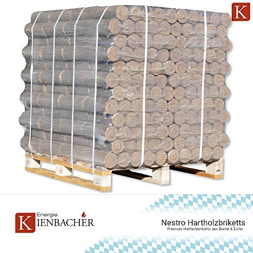 960 kg Holzbriketts Nestro Hartholz Briketts Kamin Ofen Brikett Brennholz Heizbriketts aus Buche & Eiche 96 x 10kg / 960kg Palette Nestro Brikett Rund