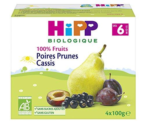 Hipp Biologique 100% Fruits 3 Variétés Dès 6/8 Mois - 6 packs de 4 coupelles de 100 g