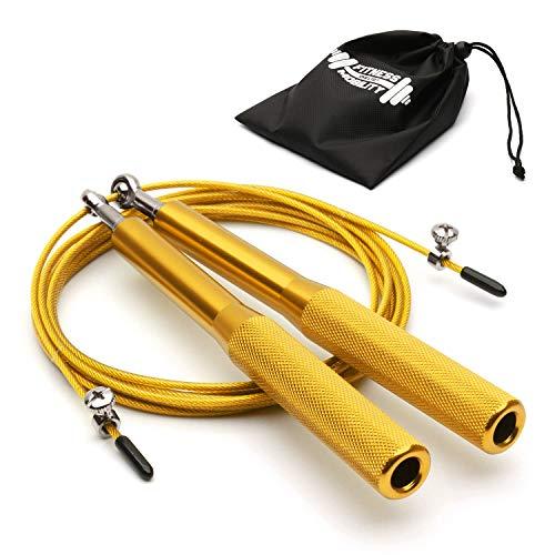CKB LTD Elite Speed Springseil für Erwachsene mit Reisetasche, Premium-Aluminium-Griffe, Fitness, verstellbar, 3 m, funktionales Fitness-Training, Training, Double Unders 1 Stück (Gold)