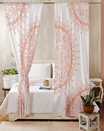 Madhu International Set of 2 Bohemian Curtains - Cotton Indian Tapestry Curtains - Curtain Drape with Rod Pocket - Floral Printed Mandala Curtain Panel for Living Room - Rose Gold, 41' X 87'