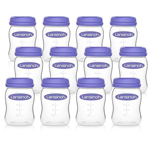 Lansinoh Aufbewahrungsflaschen - 12 Stück x 160 ml - zur sicheren Aufbewahrung von Muttermilch und Brei - BPA frei