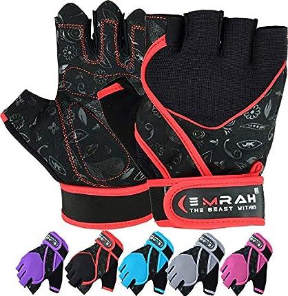 Guantes Emrah de mujer para gimnasio, levantamiento de pesas, entrenamiento y crossfit, con tejido transpirable y protección para la muñeca, color negro, tamaño Small