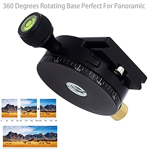 GkGk G11 Panoramic Tripod Head, Portable 360 Degrees Bottom Rotation Aluminum Alloy Pan Head with Panorama Scale and Quickly Release Plate for Tripod, DSLR Cameras, Max Load Up to 5 Kilograms