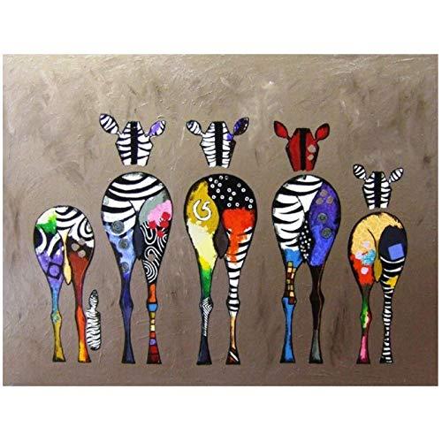 zhaoyangeng Kleurrijke Abstract Zebra Home Decor muurkunst Afbeeldingen Hd Canvas afdrukken Mooie dieren Kunst Schilderij voor baby kamer Decor- 60X80cm Oningelijst