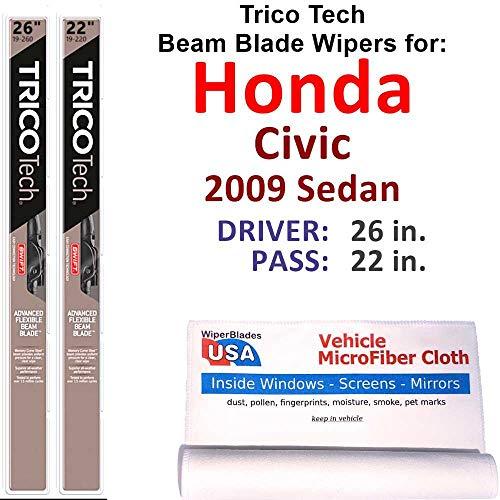 Beam Wiper Blades for 2009 Honda Civic Sedan Set Trico Tech Beam Blades Wipers Set Bundled with MicroFiber Interior Car Cloth