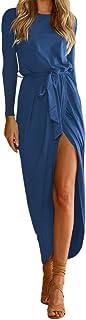 MRULIC Dam fin boho lång maxiklänning kvällsfest strand klänningar solklänning kostym med en kropp som formar bältet