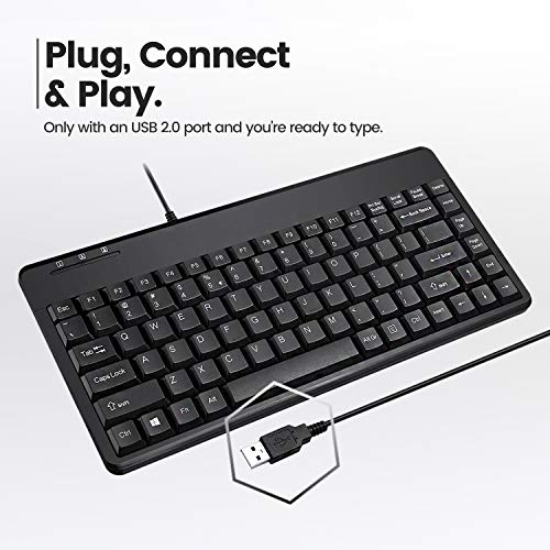 Perixx Tastatur mit USB Schwarz schwarz Mini