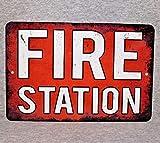 Metal Sign Fire Station reparto Brigata Motore di Salvataggio Pompiere EMS Camion Ambulanza Autista paramedico volontario di Emergenza