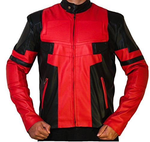 Ryan Reynolds Deadpool Red and Black Leather Jacket Costume ►BEST SELLER◄ (X-Small)