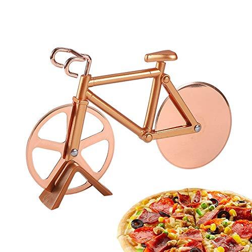 TDCQ Corta Pizza Bicicleta,Bicicleta Cortador de Pizza,Cortapizzas Profesional,Pizza Cutter Wheel,Corta Pizza Divertido,Cortapizzas,Cortador de Pizza Acero Inoxidable (Oro Rosa)