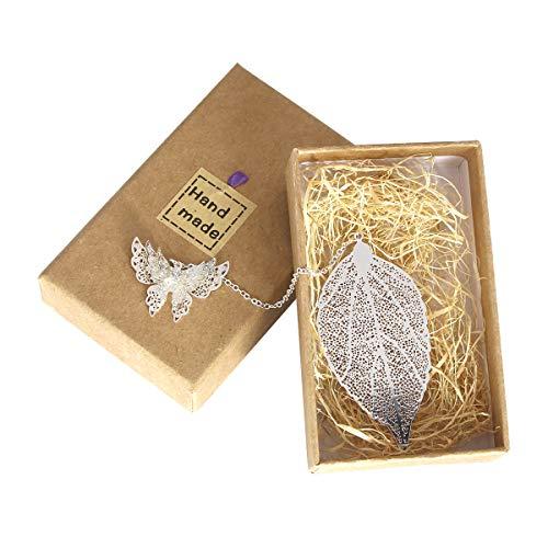 1 Pcs Metal marcadores arte hojas con mariposa Ven con caja de regalo perfecto para amigos y familiars(Plata)