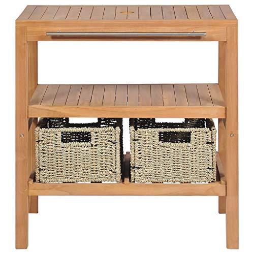 Mueble de Lavabo de Madera de Teca, Armario de Suelo para Debajo de Lavabo con 2 cestas y Barra de Toallas, 74 x 45 x 75 cm
