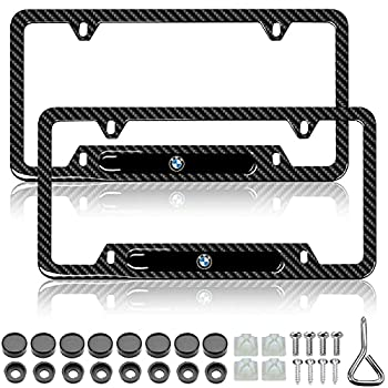 YIDEXIN 2Pcs License Plate Frames for BMW Premium Black Steel Carbon Fiber Logo License Plate Cover Holder Compatible All Vehicle License Plate Tag Cover Fit Accessories Included  2Pack-for BMW