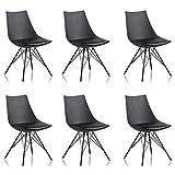 Designetsamaison Lot de 6 chaises Noires - Eiffel