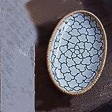 Placa de empalme de porcelana de ratán Postres de fruta hechos a mano Placas de cerámica Placas de almacenamiento en el hogar Plato de talismán óvalo (Color : 20x11.5x2.5cm)