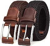 BULLIANT Cinturón Trenzado Elástico 2 Unidades,Tejido Extensible Cinturón para Hombres y Mujeres Hebilla de Zinc, Ancho 1 3/8