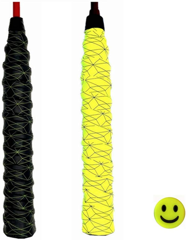 Supfan GY New Tennis Racket Grip Powerful Super Absorbent Racket Grip Non-Slip Durable Geometric Design 2 Packs.