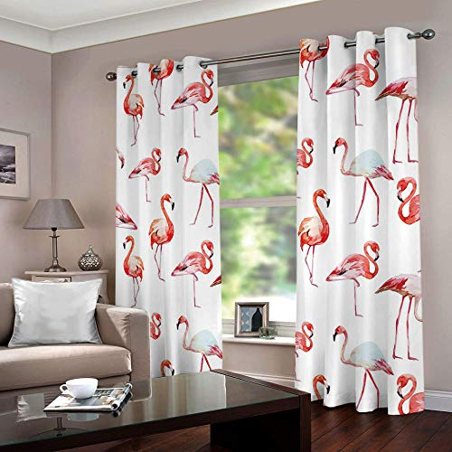 JYNVOAT Vorhang Kinderzimmer Flamingo Kinder Vorhänge mit Ösen Polyester Gardinen Thermovorhang Blickdicht Ösenschal Kindergardinen für Wohnzimmer Schlafzimmer,2er Set,70x160cm (B x H),Rosa
