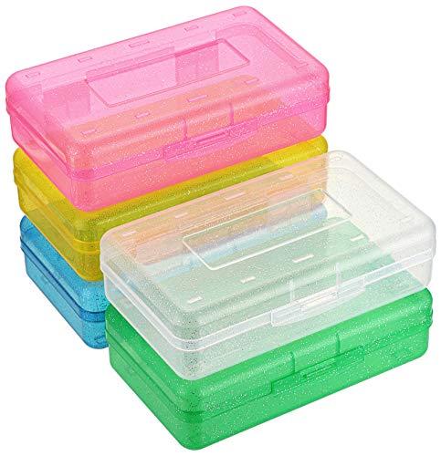 Sumnacon 多機能 小物収納ケース ペンケース プラスチック 透明 シンプル 大容量 筆箱 クリア収納ケース 工具ケース プラスチックケース 小物 ペン収納 5個セット 5色(パールグリーン、パールレッド、パールブルー、パールイエロー、ホワイト)