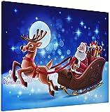 JIANSHAN Lienzo decorativo para pared, diseño de Papá Noel con renos bajo la luna llena, diseño de amapola roja, decoración moderna para el hogar, 40,6 x 50,8 cm