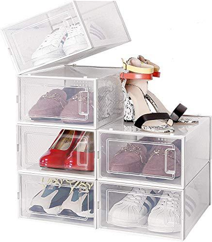 amzdeal Kunststoff Schuhbox 6er Set - transparenter, stapelbarer und wasserdichter Schuhorganizer, Faltbare Schuhe Aufbewahrungsbox, raumsparend Schuhregale für Männer und Frauen 35 × 25 × 18.7 cm