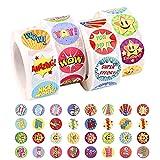 2000 Piezas Pegatinas Infantiles Recompensa,Pegatinas Recompensa Niños Pegatinas Motivación Infantil Etiquetas Adhesivas Redondas Sticker con 32 Diseños Surtidos para el aula de estudiantes